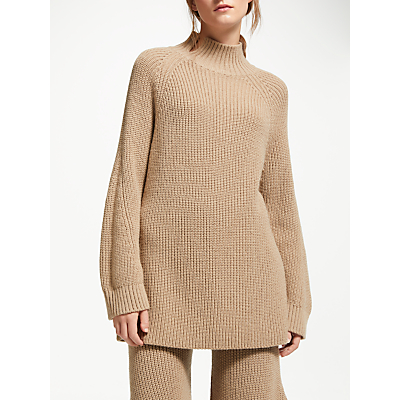 Modern Rarity J. JS Lee Rib Roll Neck Jumper, Camel