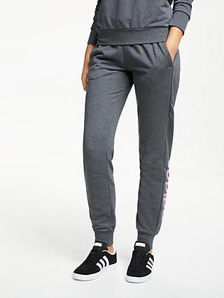 d031909c2f2c62 adidas Essentials Linear Tracksuit Bottoms, Dark Grey Heather/True Pink