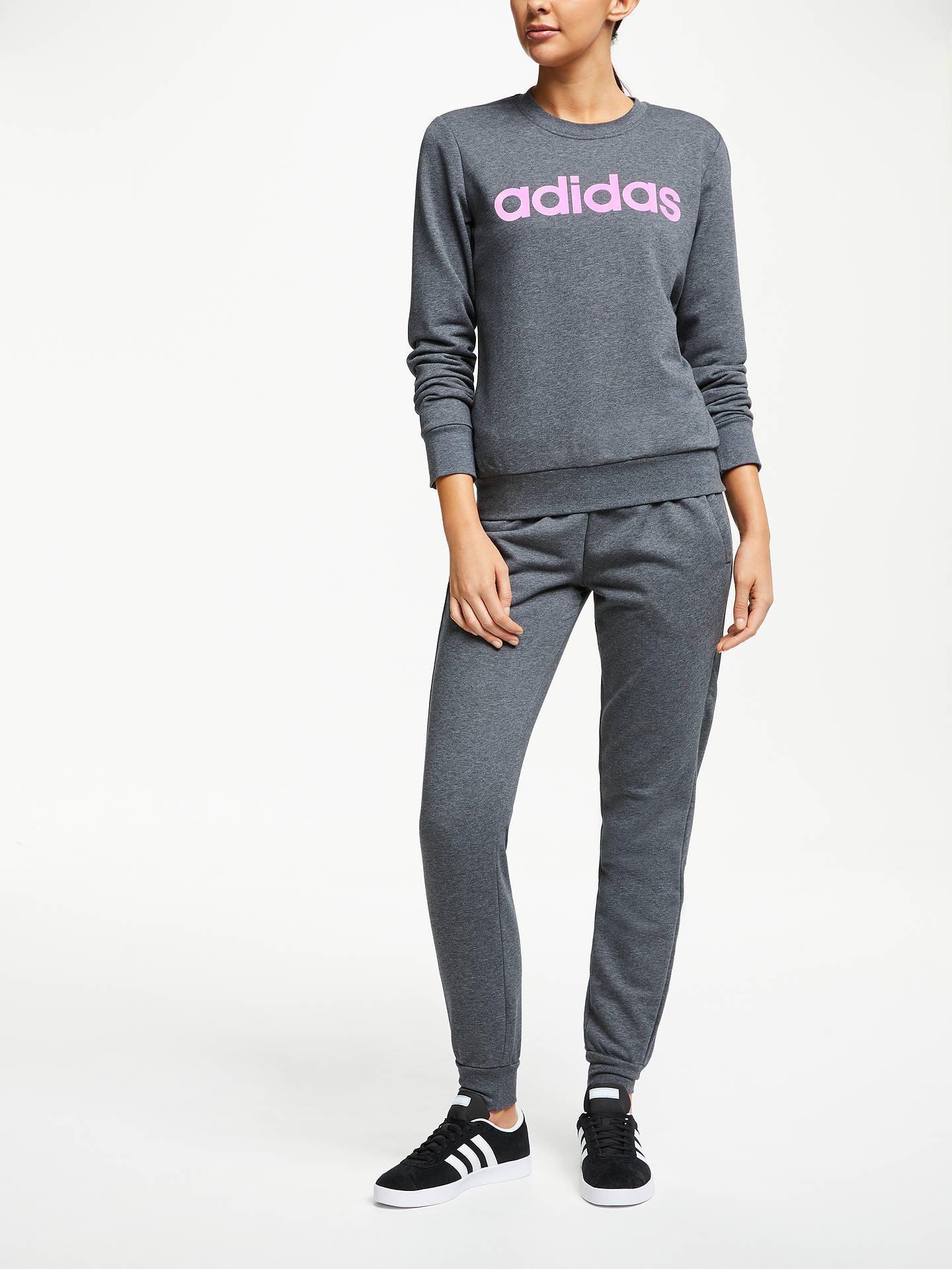 adidas Essentials Linear 34 Pants Woman dark grey heather true pink