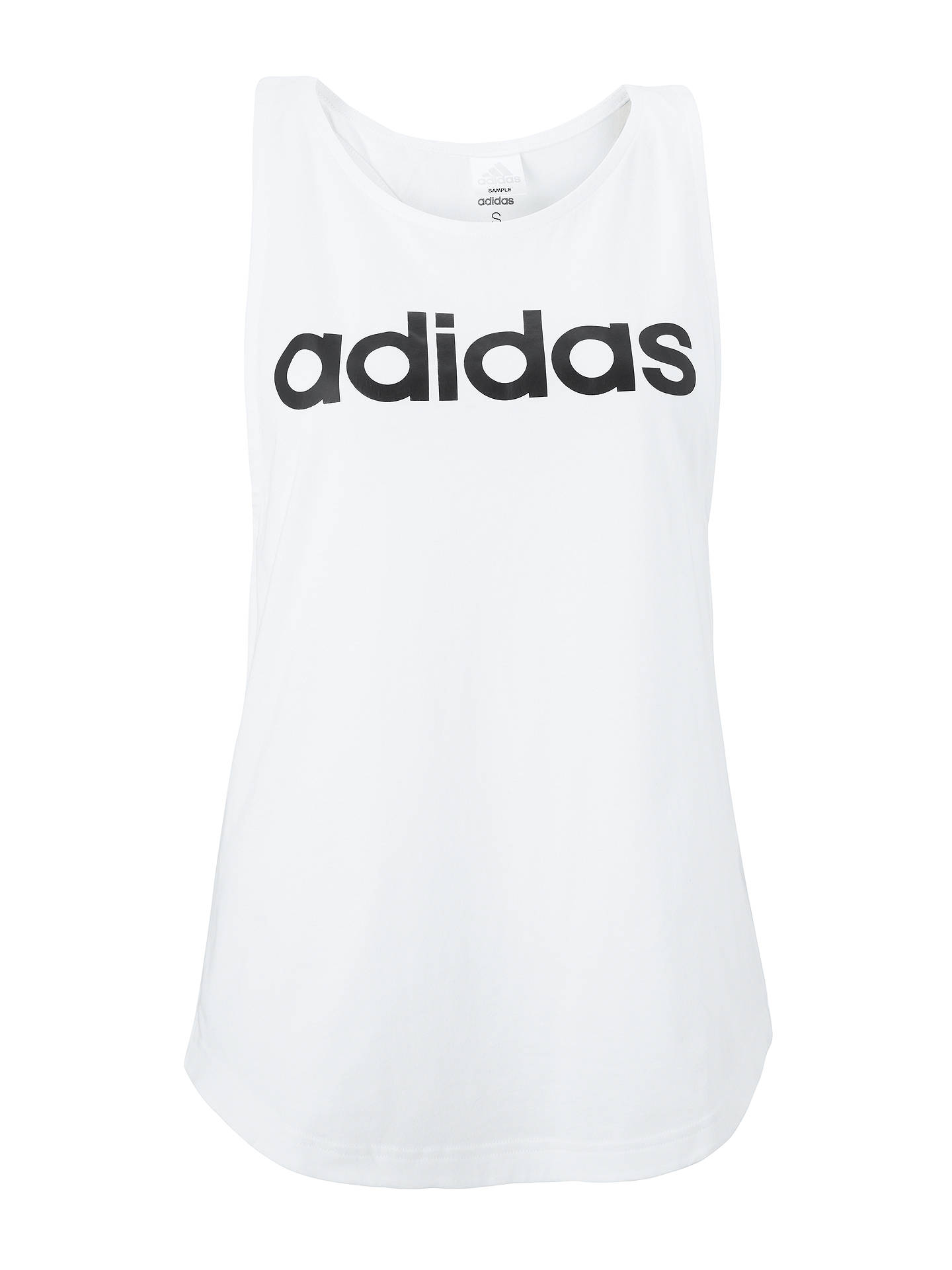Buyadidas Essentials Linear Loose Tank Top, White/Black, XS Online at johnlewis.com