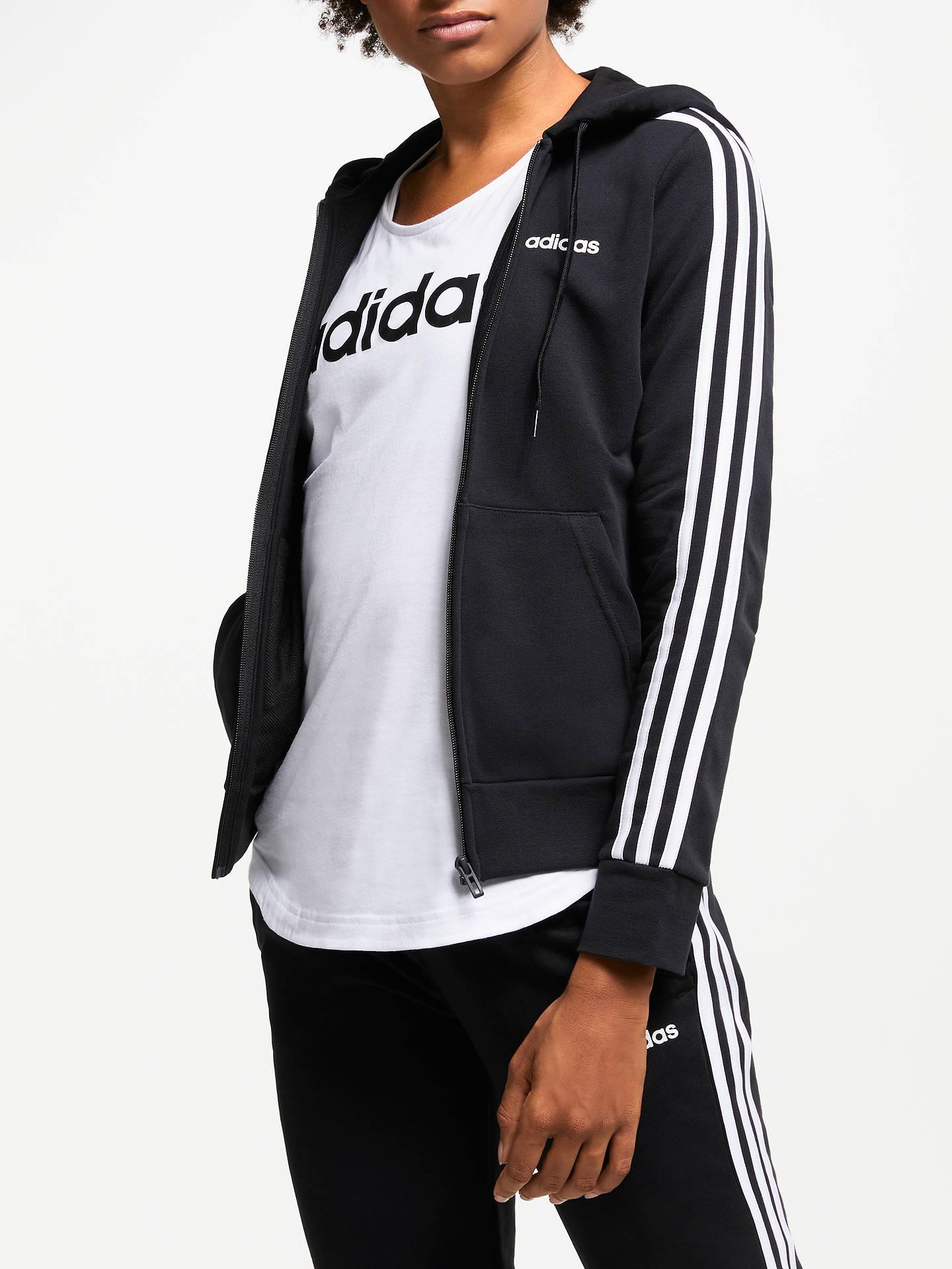 adidas Essentials 3 Stripes Full Zip Training Hoodie, Black