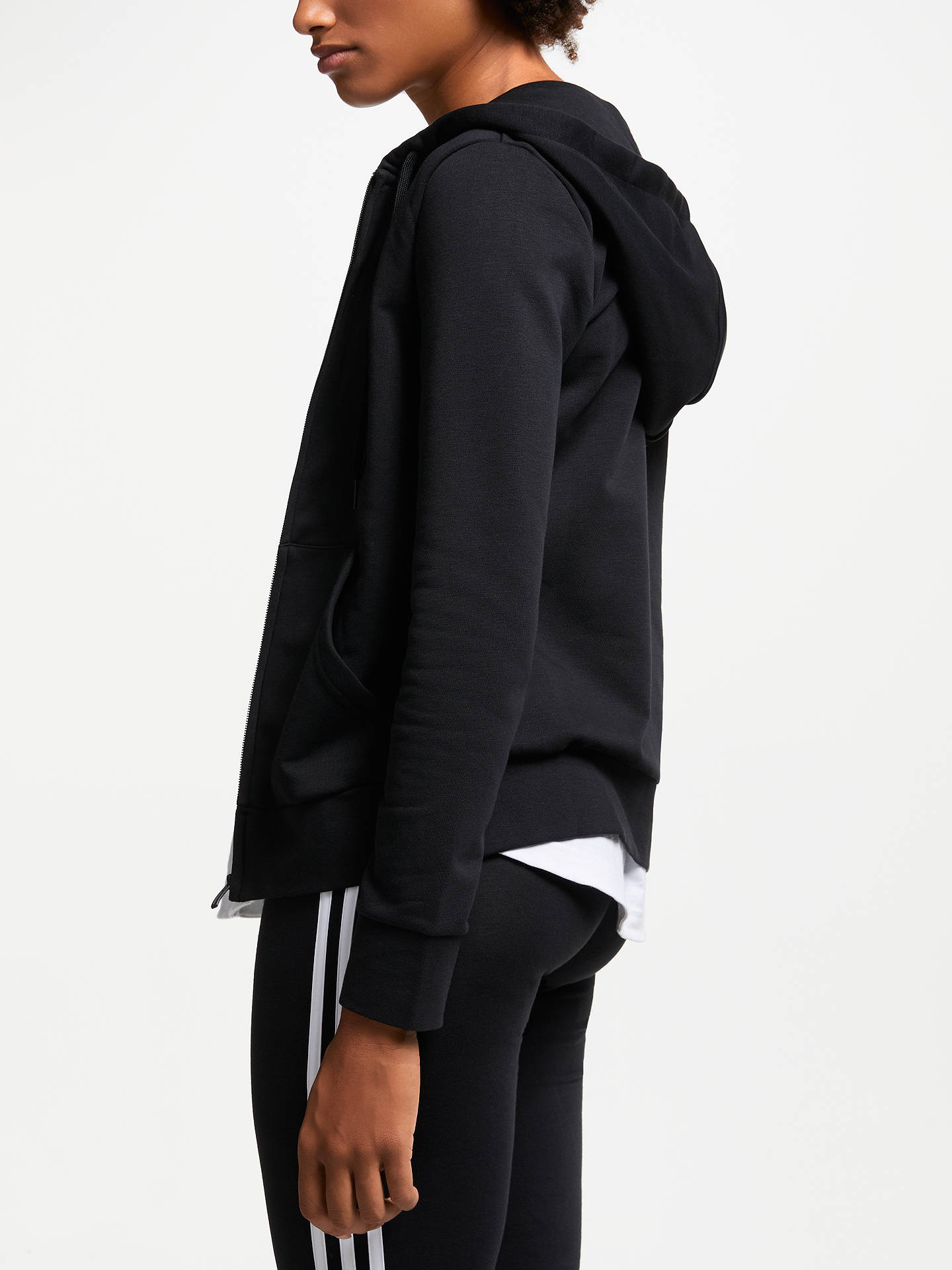 Buy adidas Essentials Solid Full Zip Training Hoodie, Black, M Online at johnlewis.com