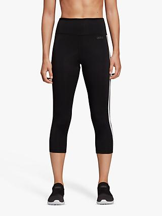 adidas Design 2 Move 3 Stripes 3/4 Training Tights, Black