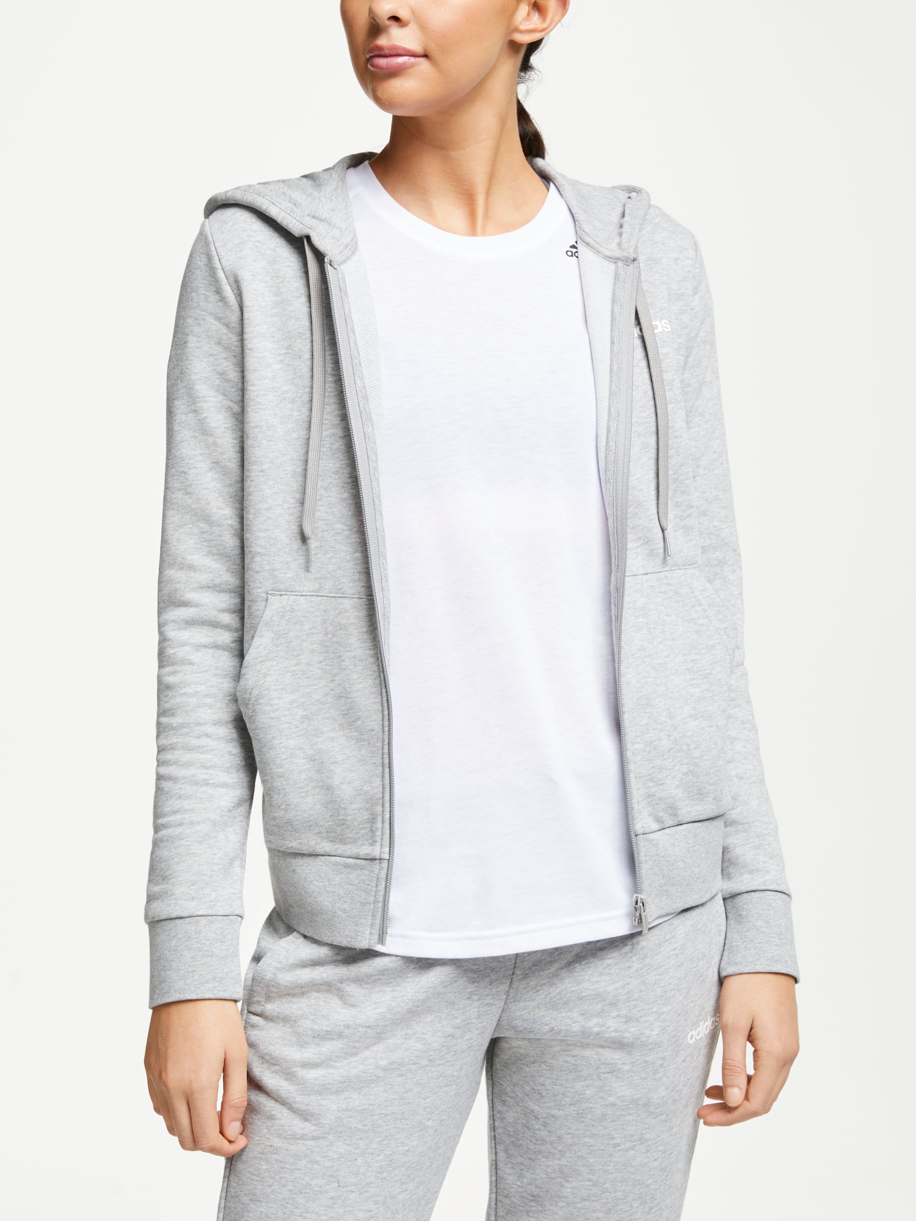 Adidas adidas Essentials Solid Full Zip Hoodie, Grey Heather
