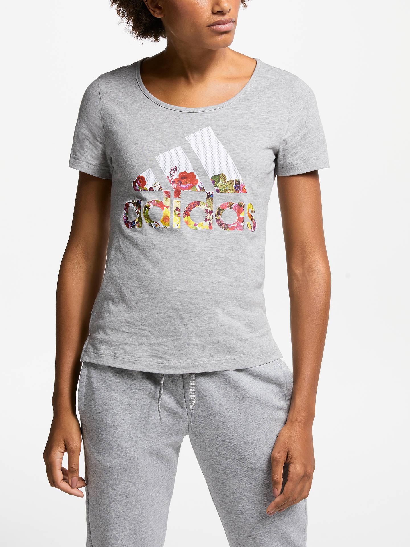 2822c0725 Buy adidas Badge of Sport Flower T-Shirt, Medium Grey Heather, XS Online ...
