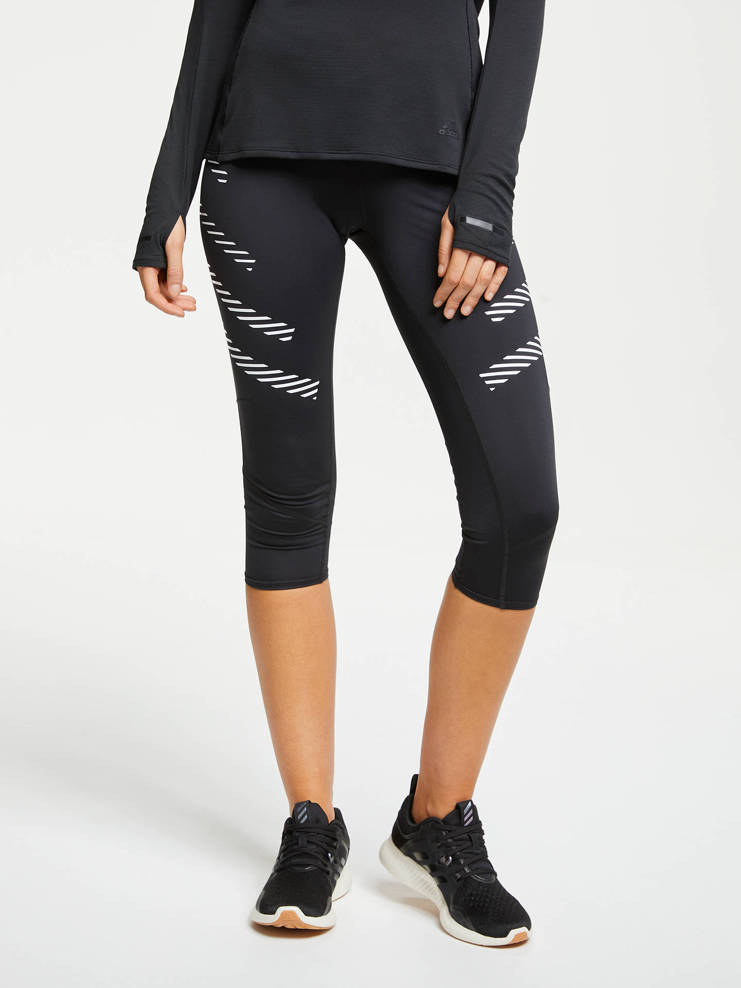 092a1c550e7 adidas How We Do 3/4 Running Tights, Black/White at John Lewis ...