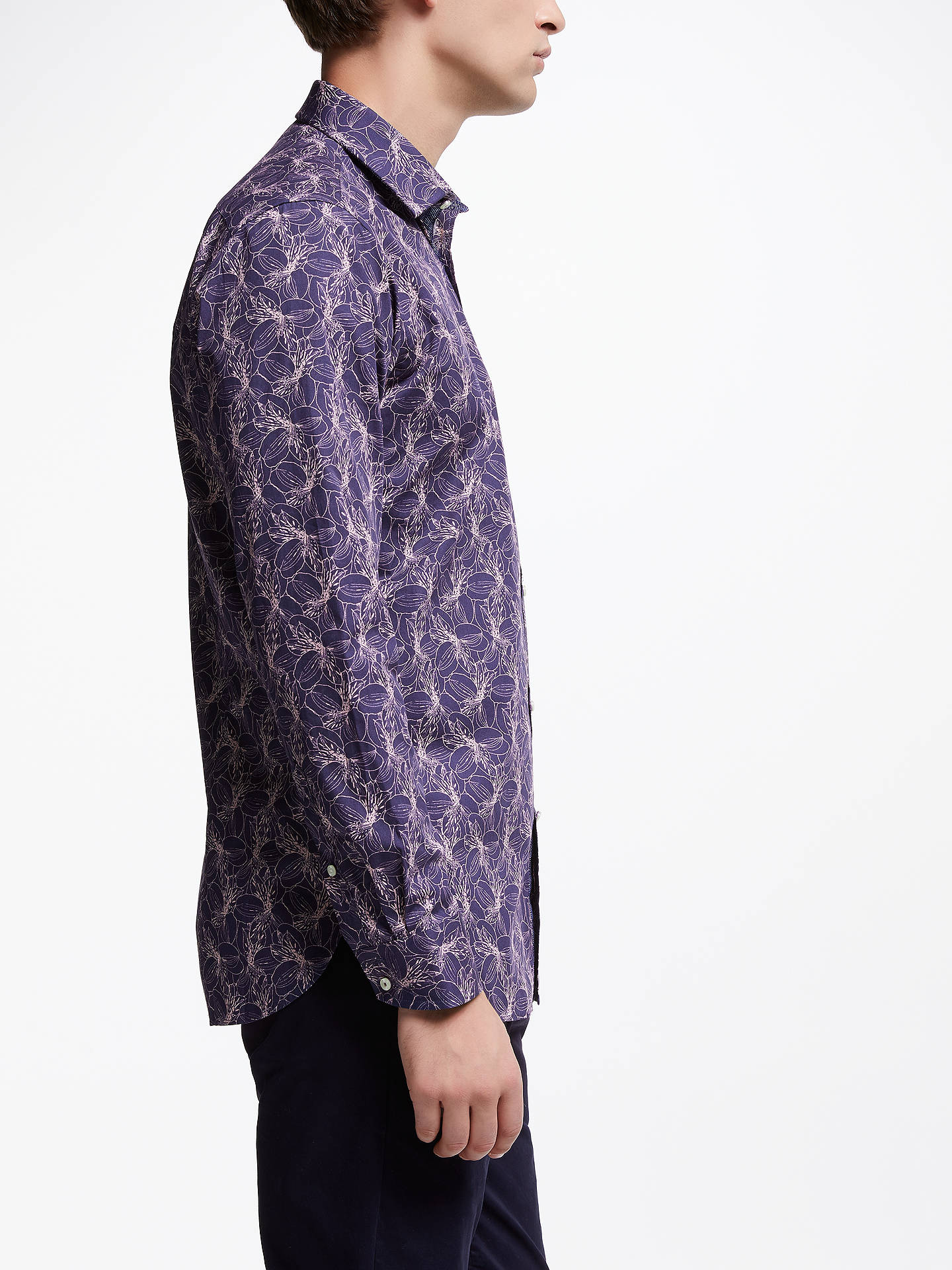BuyTed Baker Farms Floral Print Shirt, Purple, 17 Online at johnlewis.com