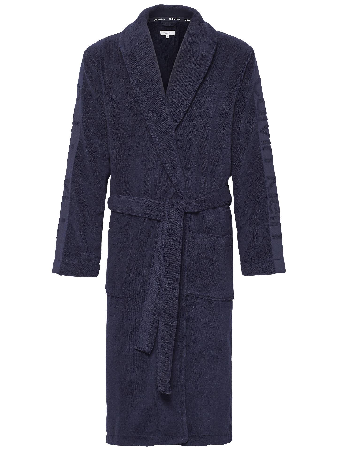 Calvin Klein Cotton Wrap Dressing Gown, Navy at John Lewis & Partners