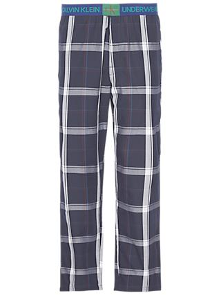 Calvin Klein Plaid Cotton Pyjama Pants, Navy