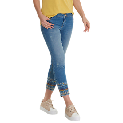 Betty Barclay Cropped Embroidered Jeans, Light Blue