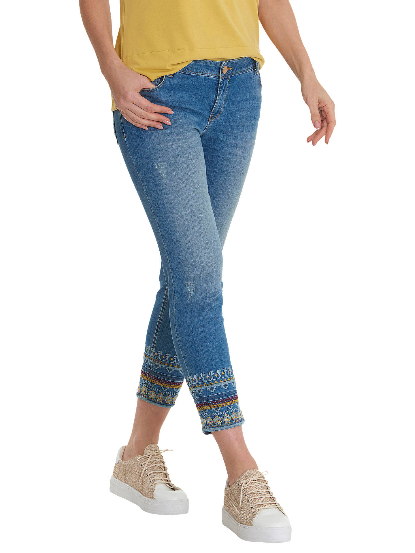 Buy Betty Barclay Cropped Embroidered Jeans, Light Blue, 10 Online at johnlewis.com