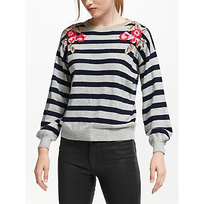 JEFF Colette Stripe Embroidered Jumper, Navy/Grey