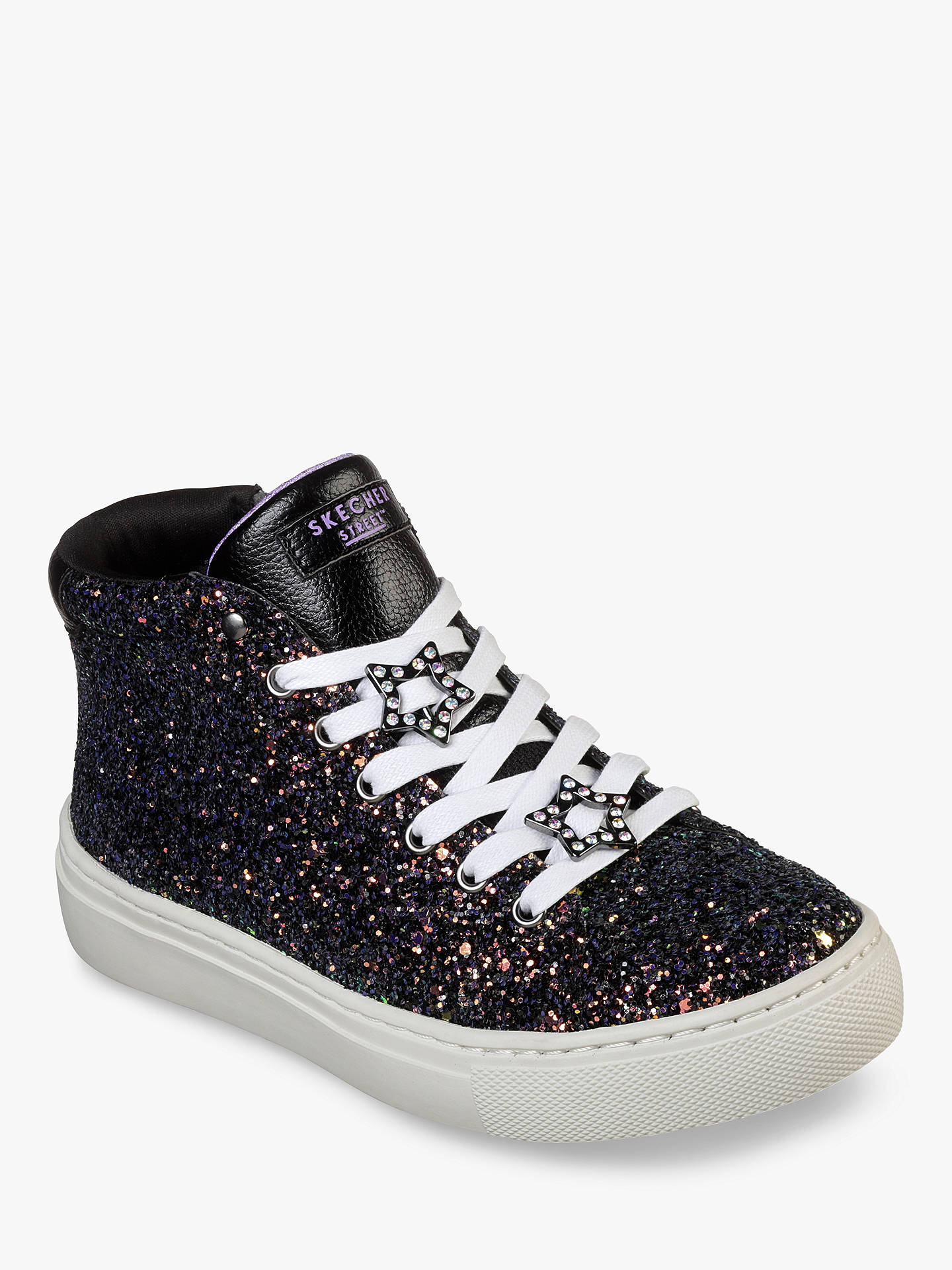 Buy Skechers Side Street Night Life High Top Trainers, Black, 36 Online at johnlewis.com