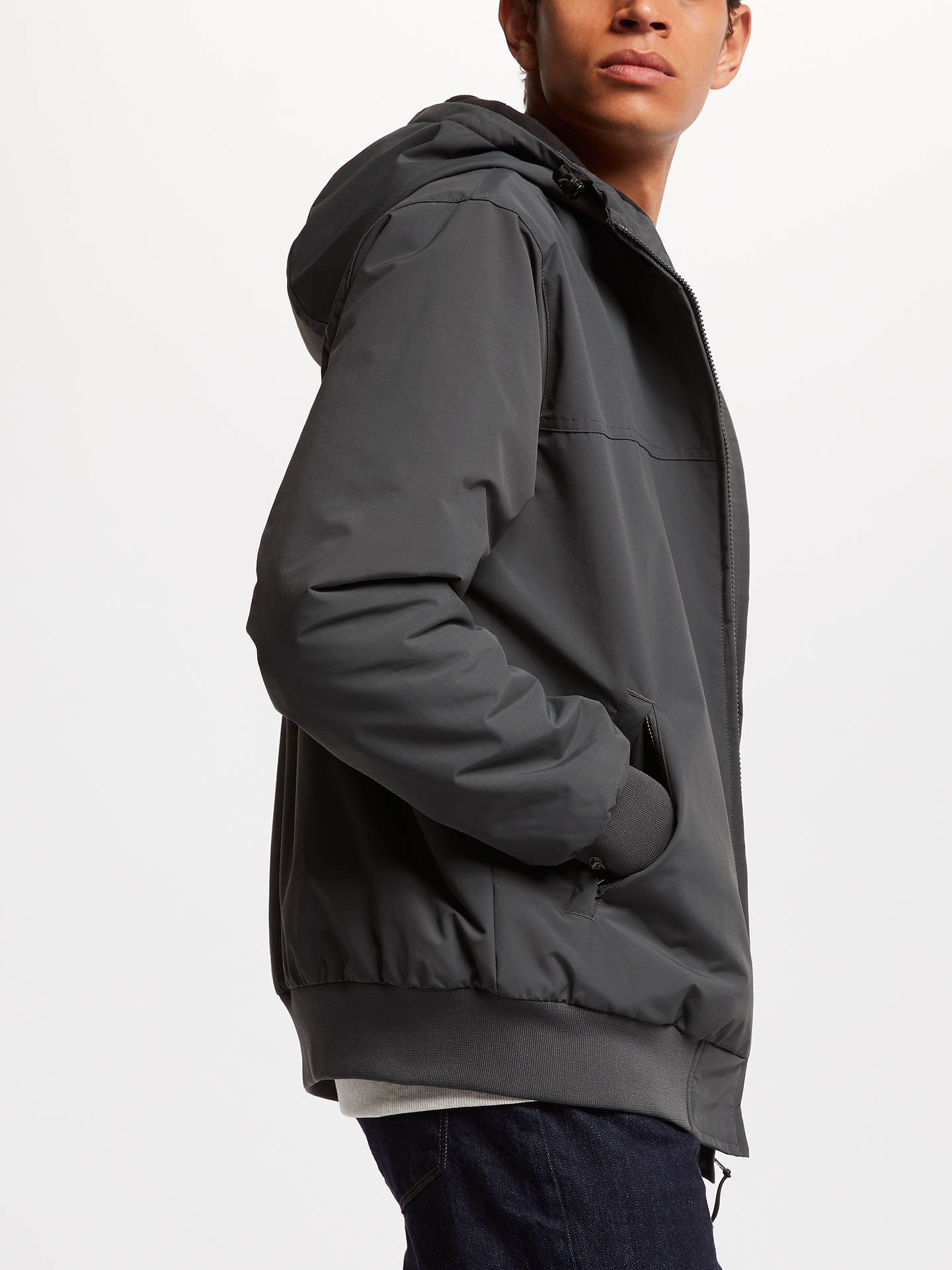 BuyCarhartt WIP Sail Fleece Lined Hooded Jacket, Blacksmith, XL Online at johnlewis.com