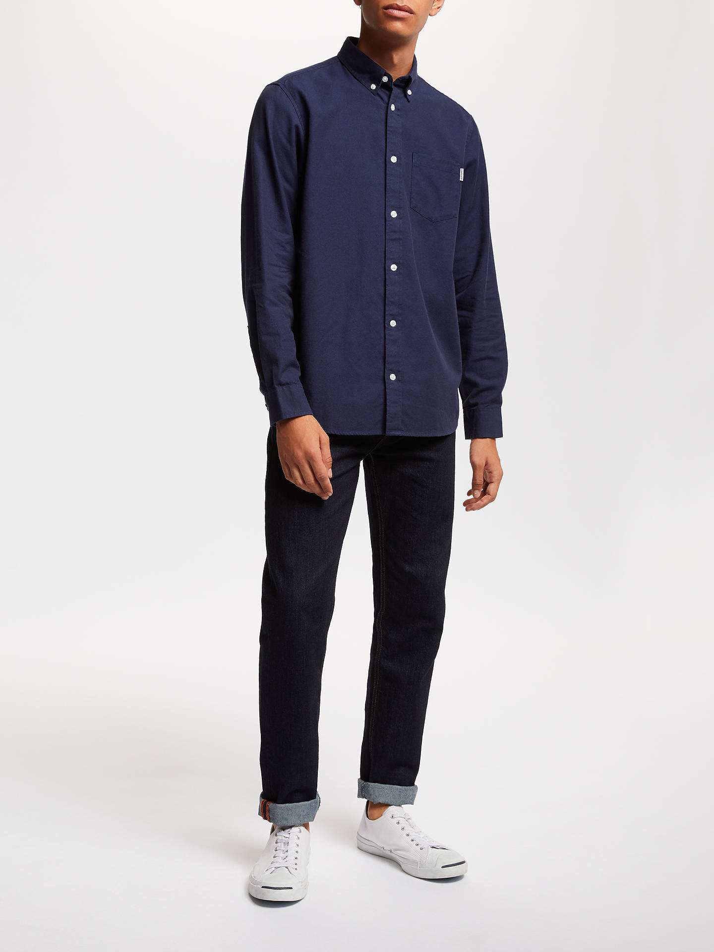 Buy Carhartt WIP Dalton Cotton Oxford Flannel Shirt, Dark Navy, XL Online at johnlewis.com