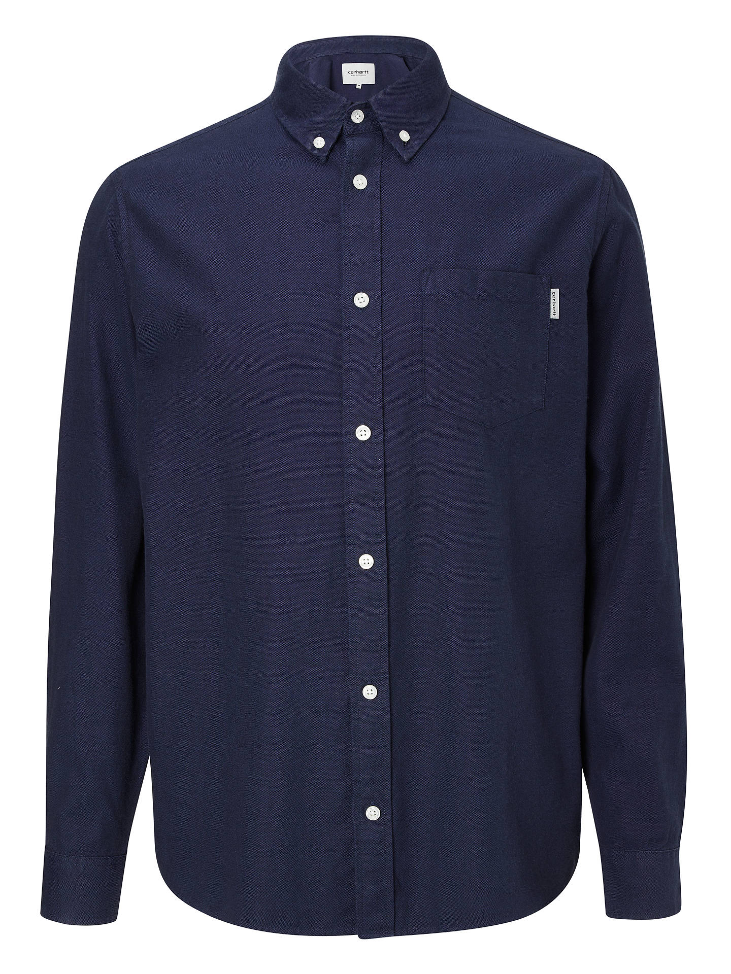 BuyCarhartt WIP Dalton Cotton Oxford Flannel Shirt, Dark Navy, S Online at johnlewis.com