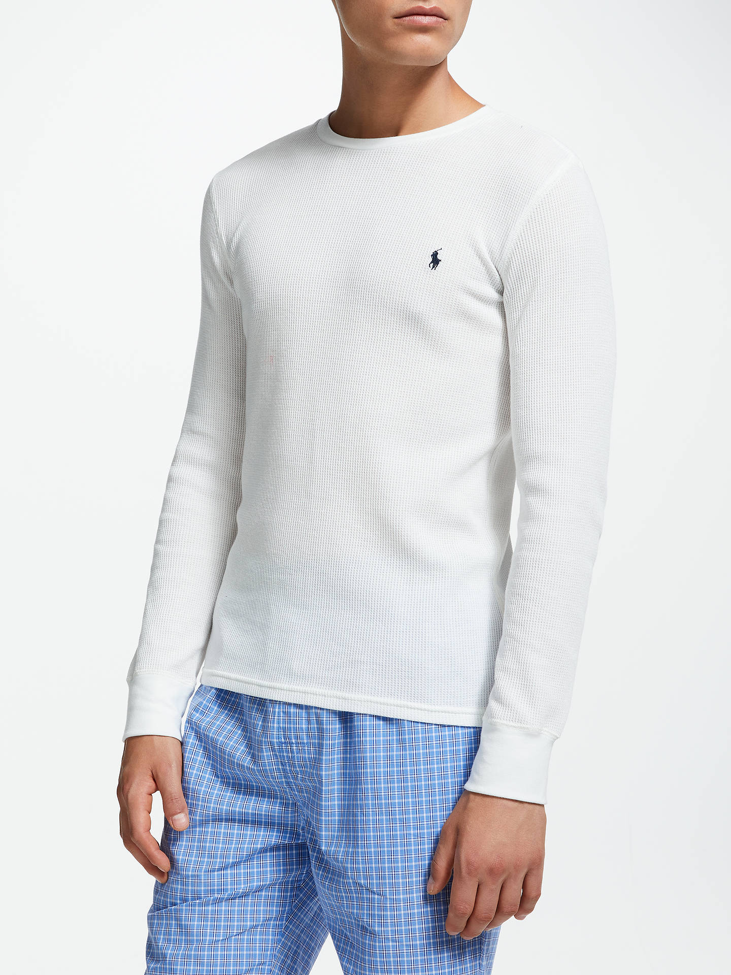df2c849d5 Buy Polo Ralph Lauren Waffle Long Sleeve T-Shirt, White, M Online at ...