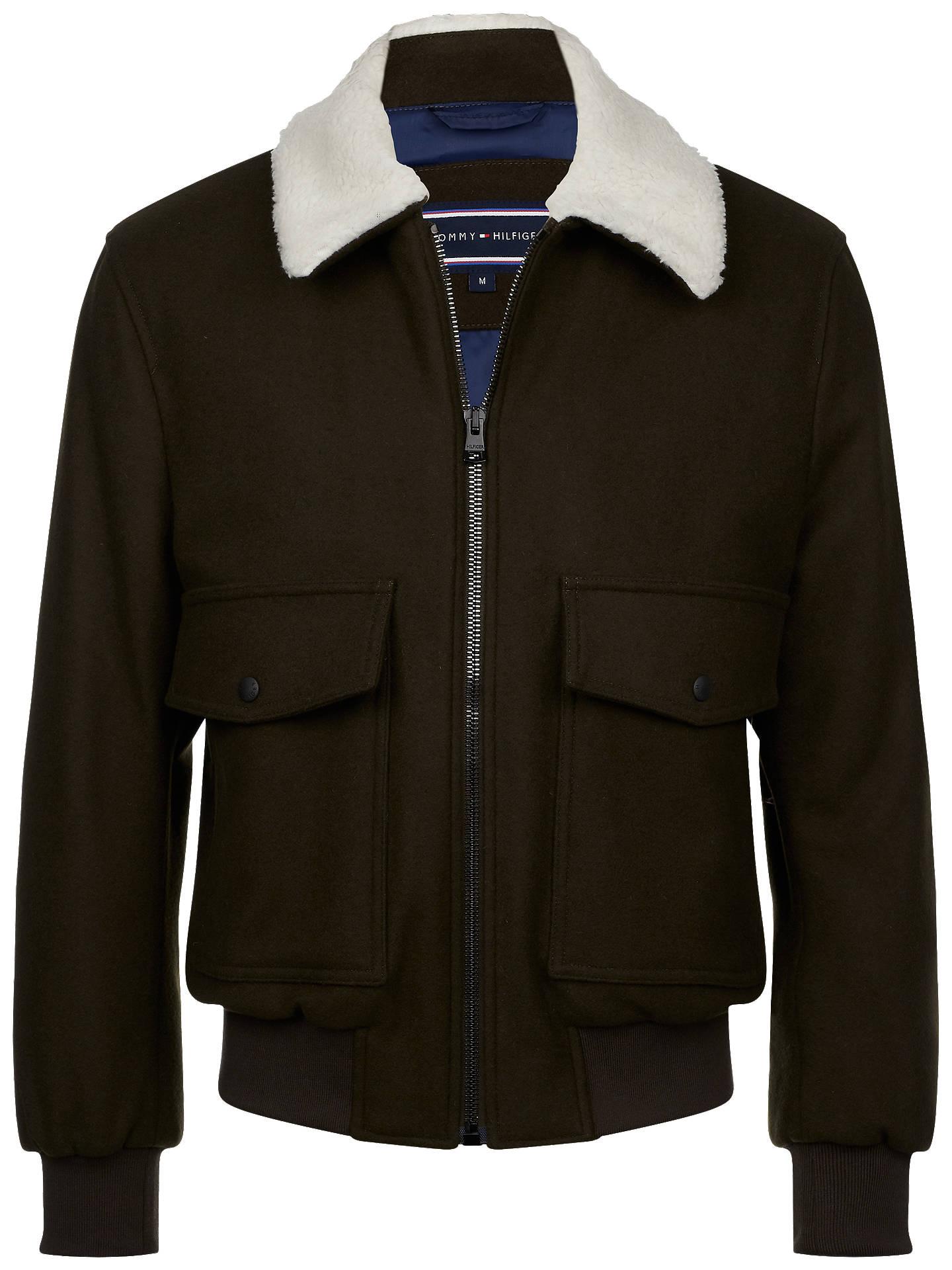 125e099b ... Buy Tommy Hilfiger Melton Wool Bomber Jacket, Rosin, XL Online at  johnlewis.com ...
