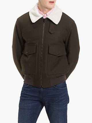 Tommy Hilfiger Melton Wool Bomber Jacket, Rosin