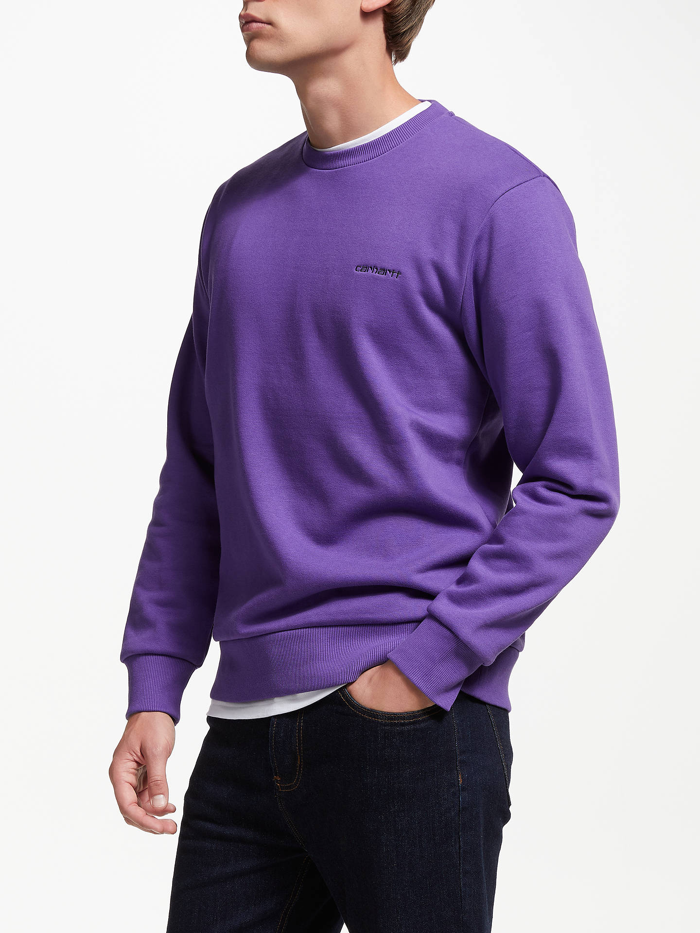 Buy Carhartt WIP Script Sweatshirt, Frosted Viola, M Online at johnlewis.com