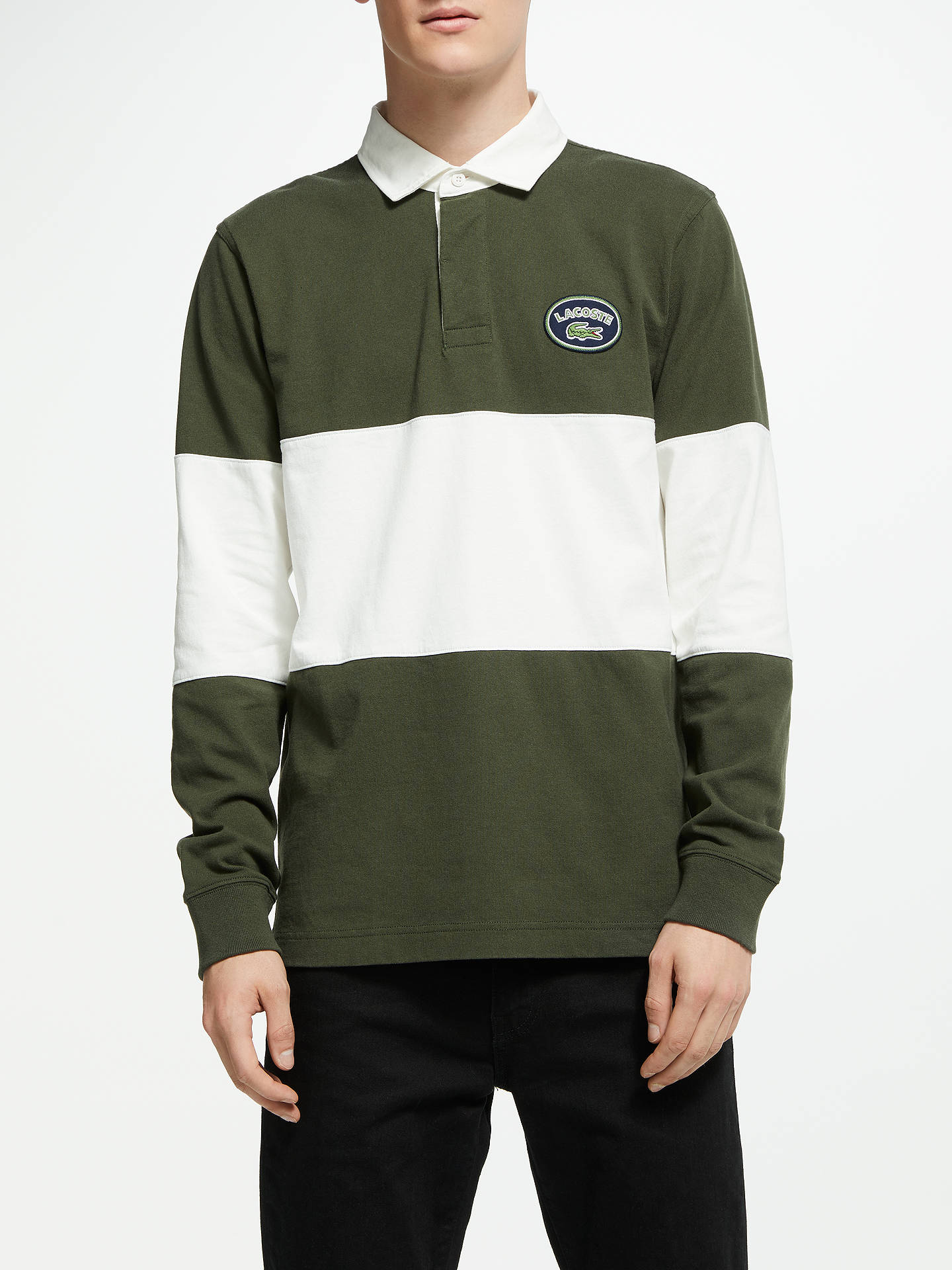 d30860e5 Buy Lacoste LIVE Heritage Logo Rugby Top, Green, S Online at johnlewis.com  ...