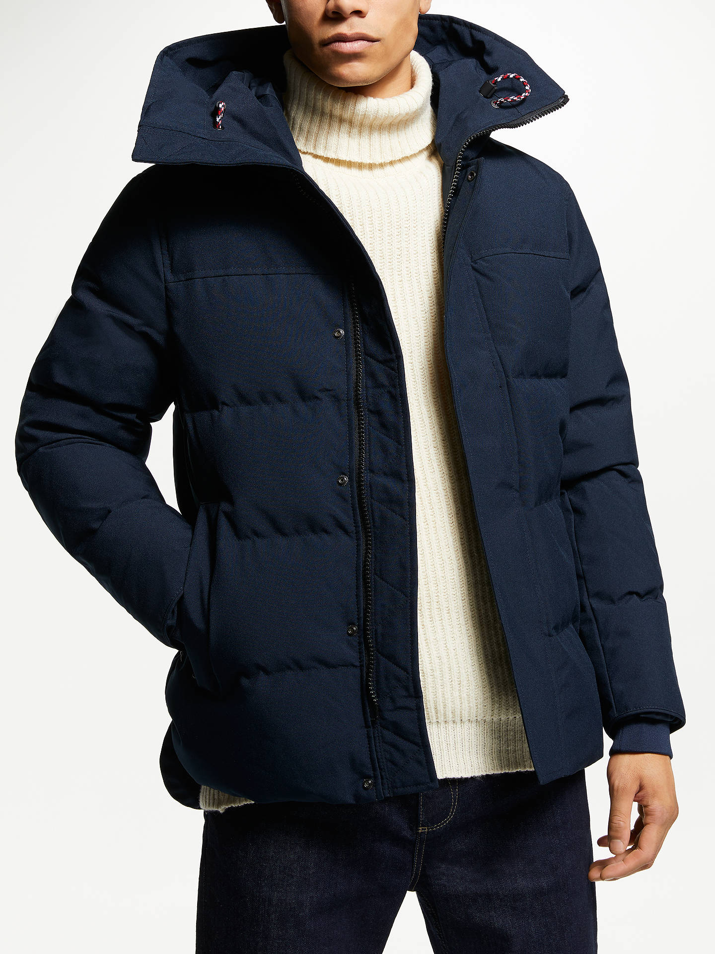 BuyTommy Hilfiger Canvas Down Bomber Jacket, Navy, M Online at  johnlewis.com ... 2a27259def