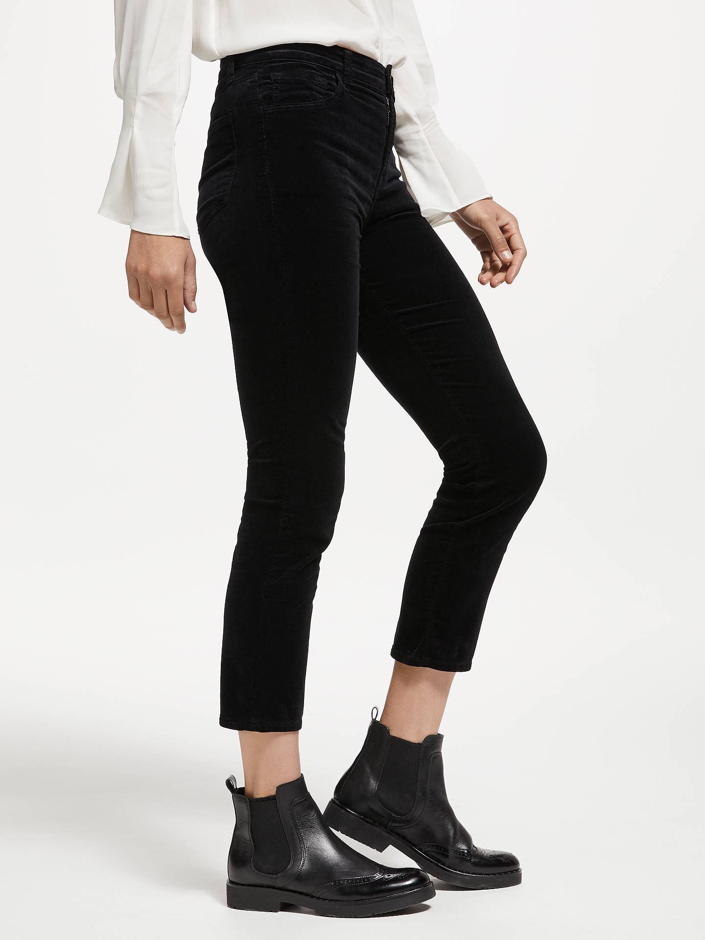 reputable site high fashion preview of J Brand Ruby High Rise Cropped Velvet Cigarette Jeans, Black at ...