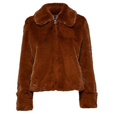 Selected Femme Aya Faux Fur Jacket, Tortoiseshell