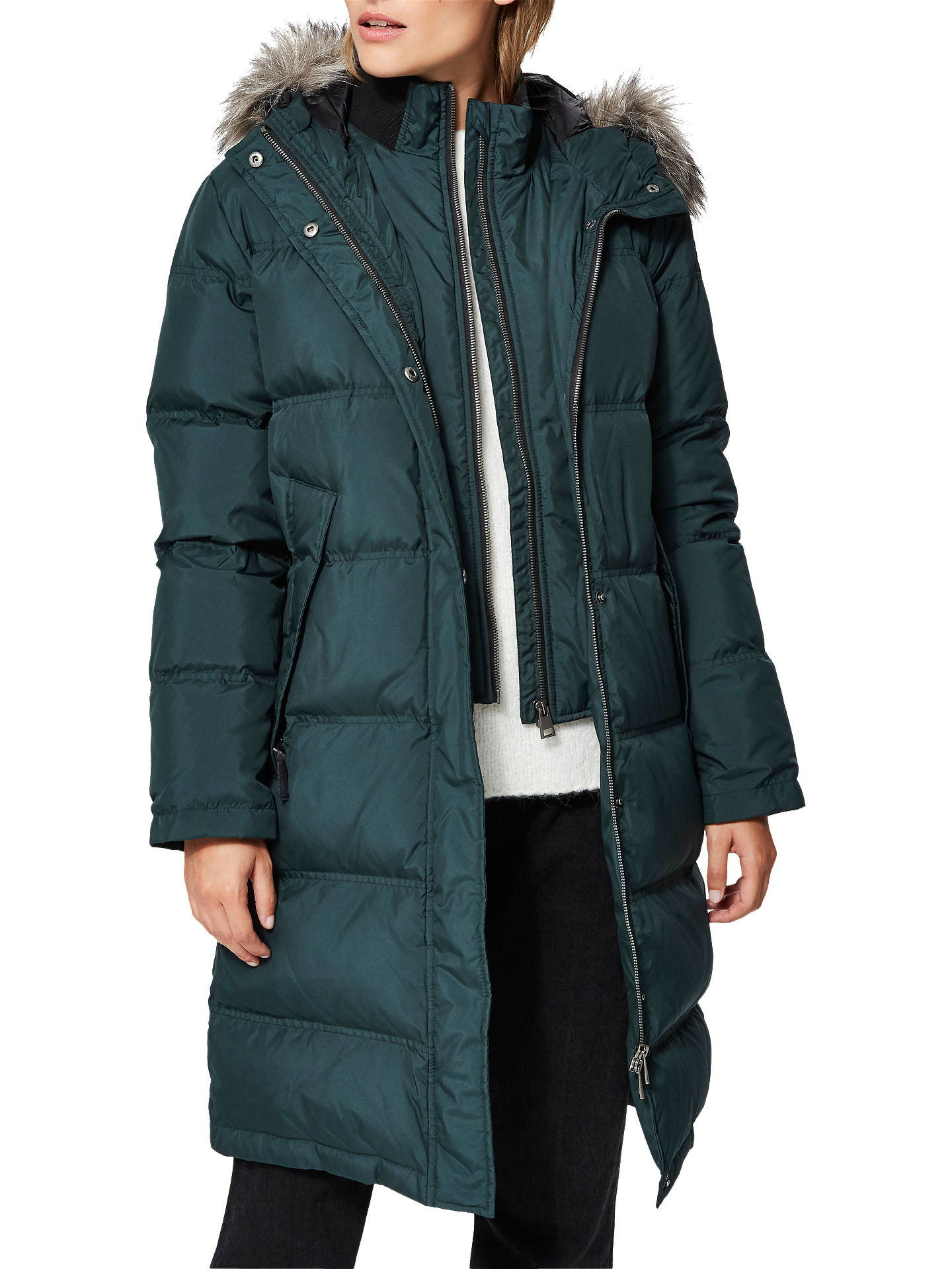 Buy Selected Femme Jona Padded Faux Fur Collar Jacket, Scarab, 8 Online at johnlewis.com