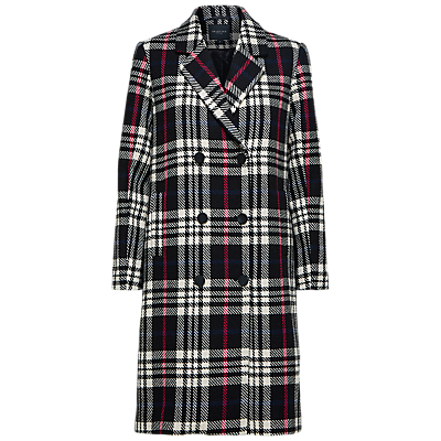 Selected Femme Check Double Breasted Coat, Black and White
