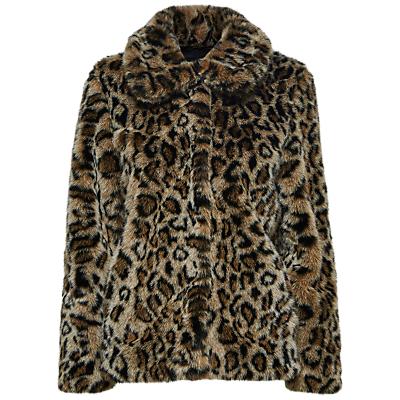 Selected Femme Faux Fur Leopard Print Coat, Black Leopard