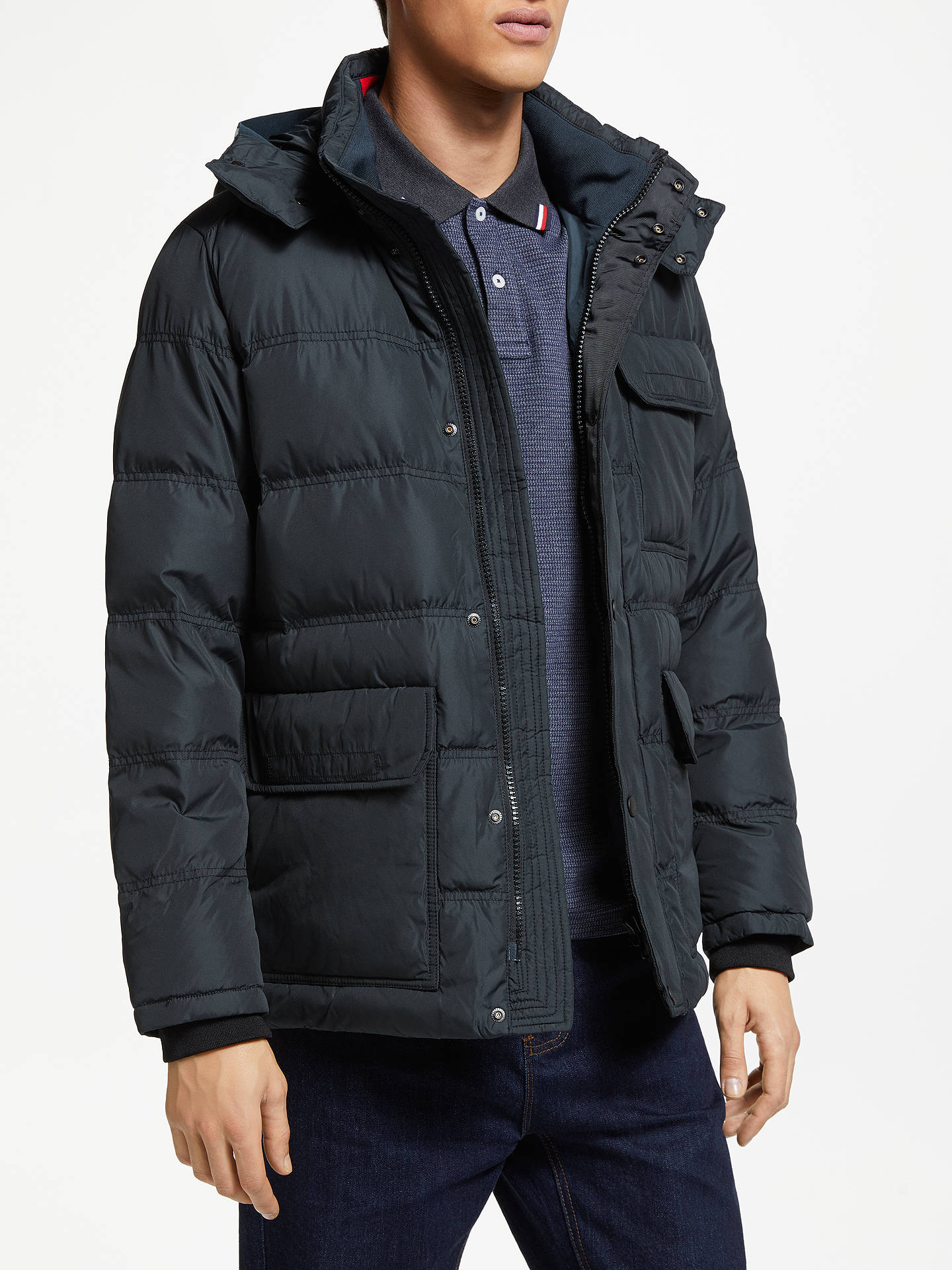 7ca5f4d5 Buy Tommy Hilfiger Down Hooded Bomber Jacket, Black, XL Online at  johnlewis.com ...