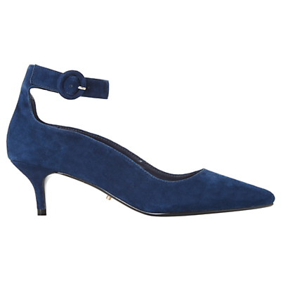 Dune Bestte Suede Pointed Court Shoes, Navy