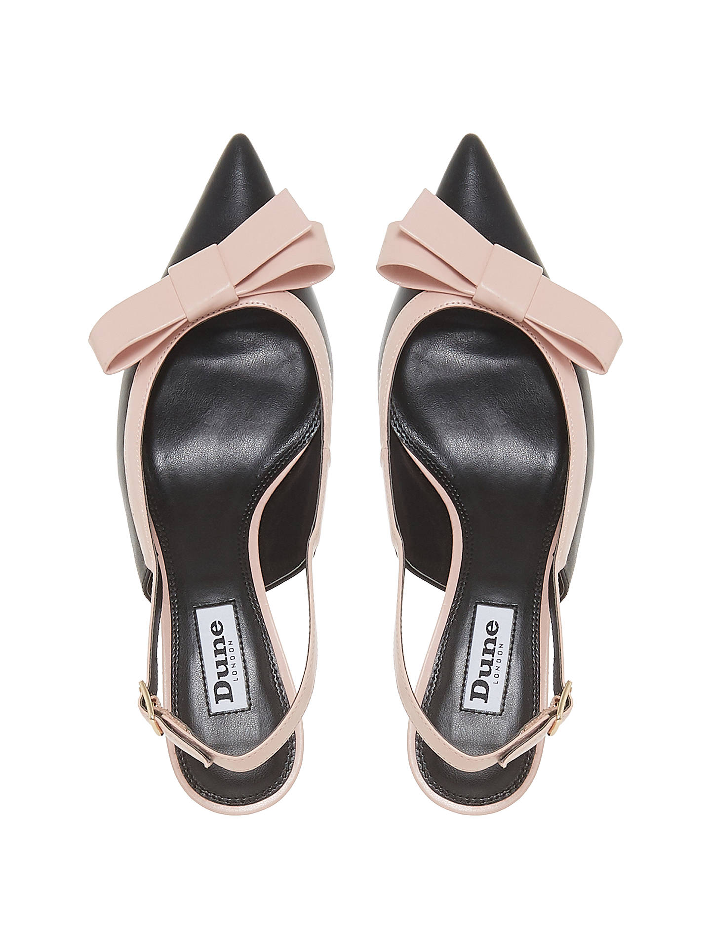 05f61964851f6 ... Buy Dune Clemmiee Kitten Heel Slingback Court Shoes, Black/Pink  Leather, 6 Online ...