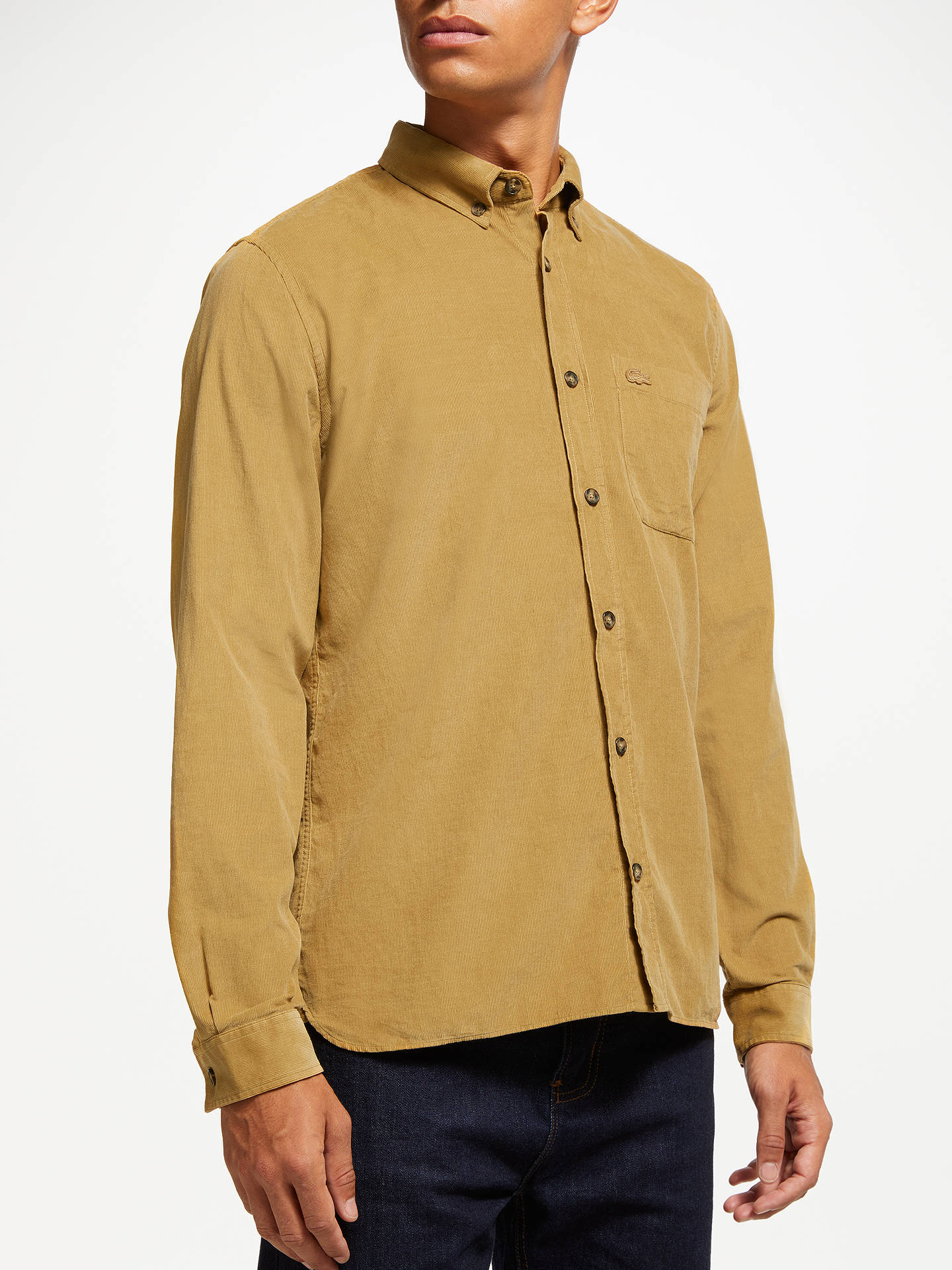 efcf8cc549 Buy Lacoste Corduroy Long Sleeve Shirt, Yellow, M Online at johnlewis.com  ...