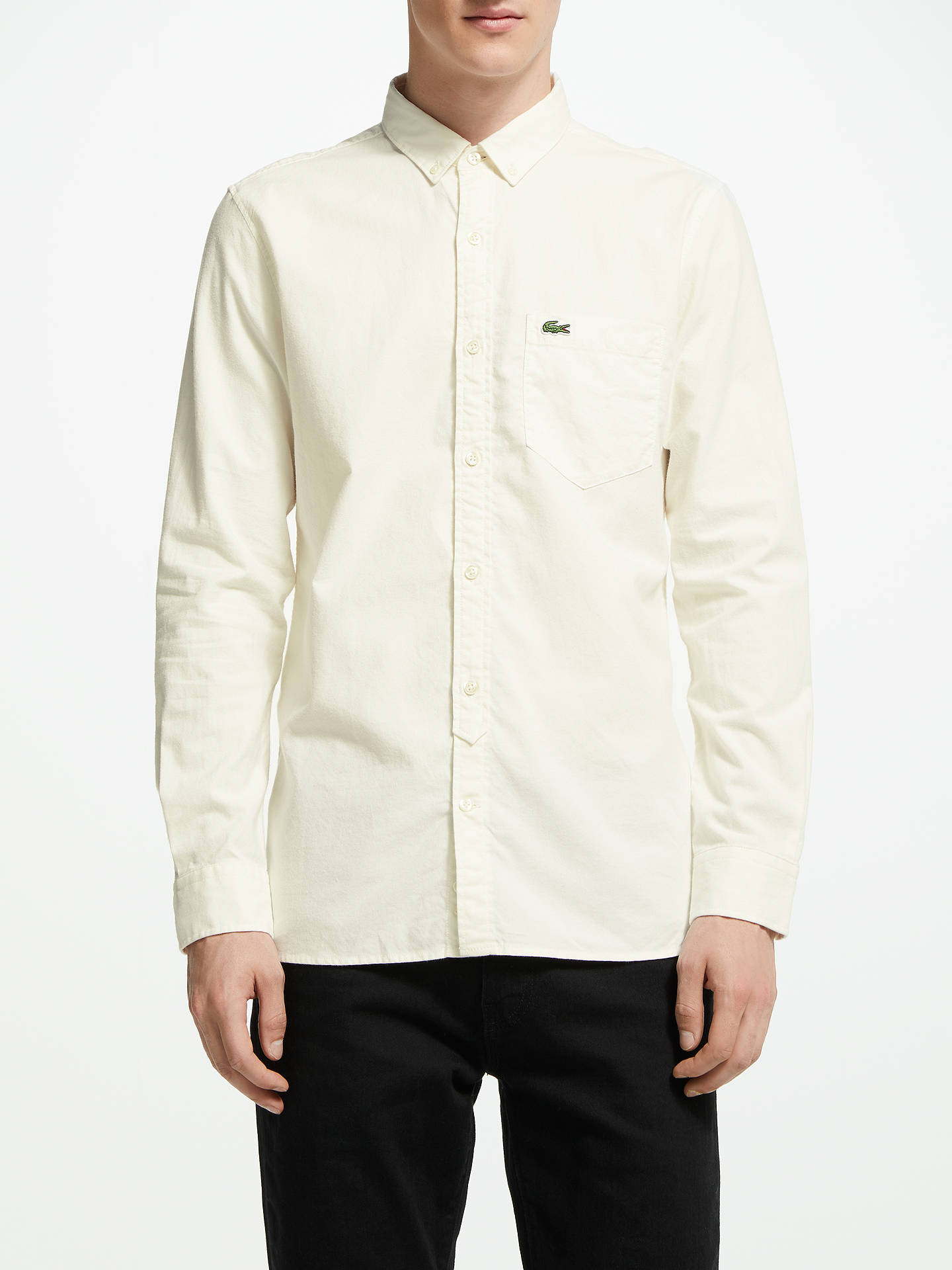 c76a2662 Buy Lacoste Long Sleeve Slim Fit Oxford Shirt, White, L Online at johnlewis.