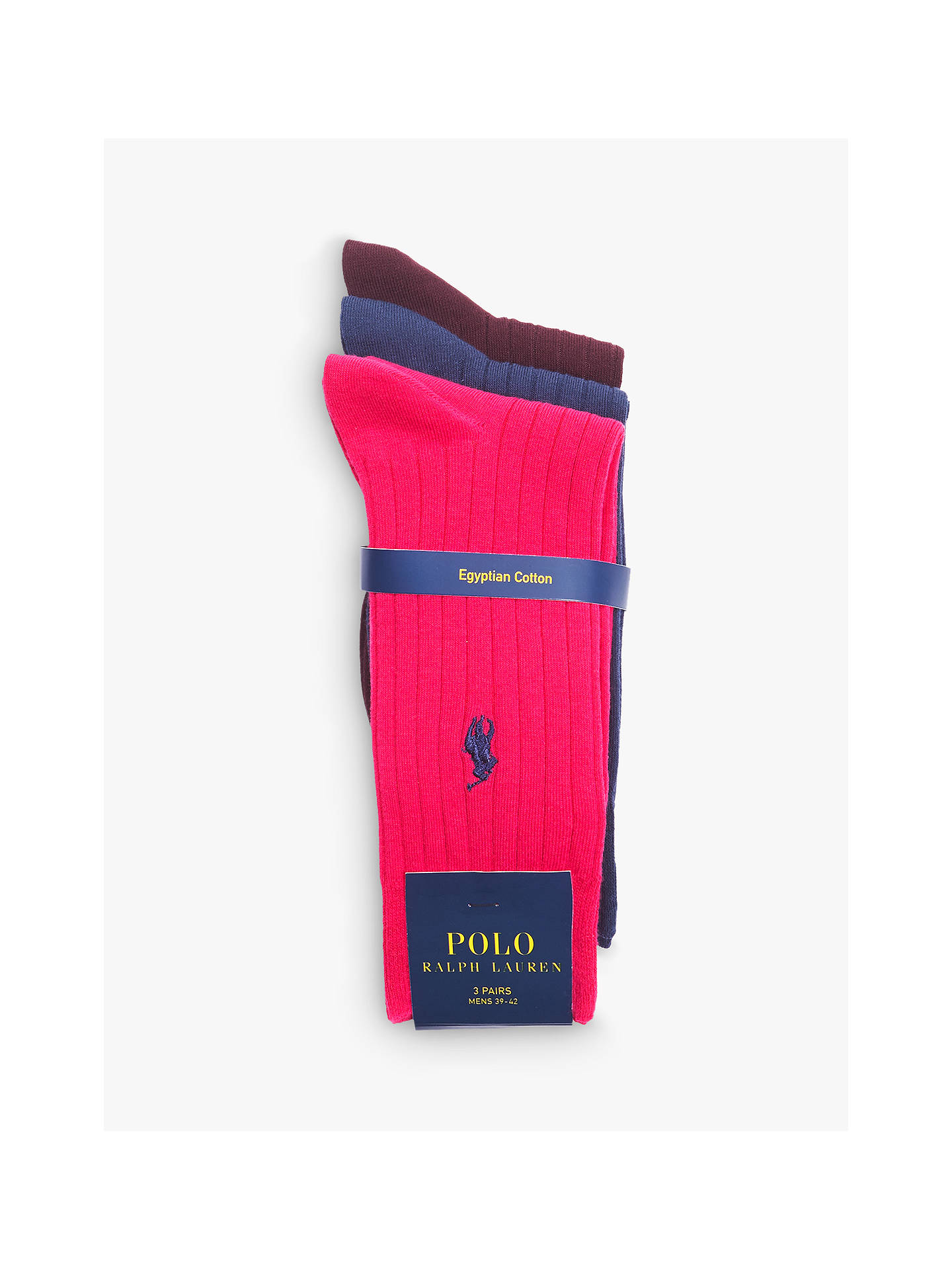 BuyPolo Ralph Lauren Egyptian Cotton Blend Socks, Pack of 3, Multi, 9-12 Online at johnlewis.com