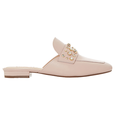 Dune Gellar Slip On Mule Loafers, Blush Leather