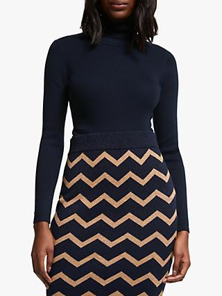 Boden Roll Neck Tilly Jumper, Navy