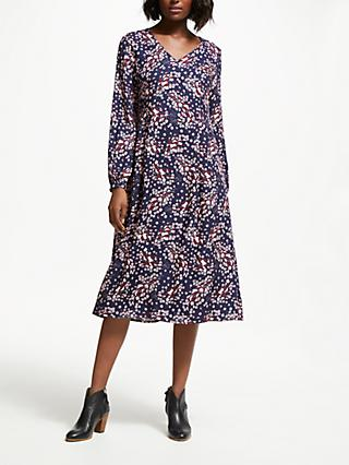 Boden Easy Midi Dress, Navy Autumnal Leaves