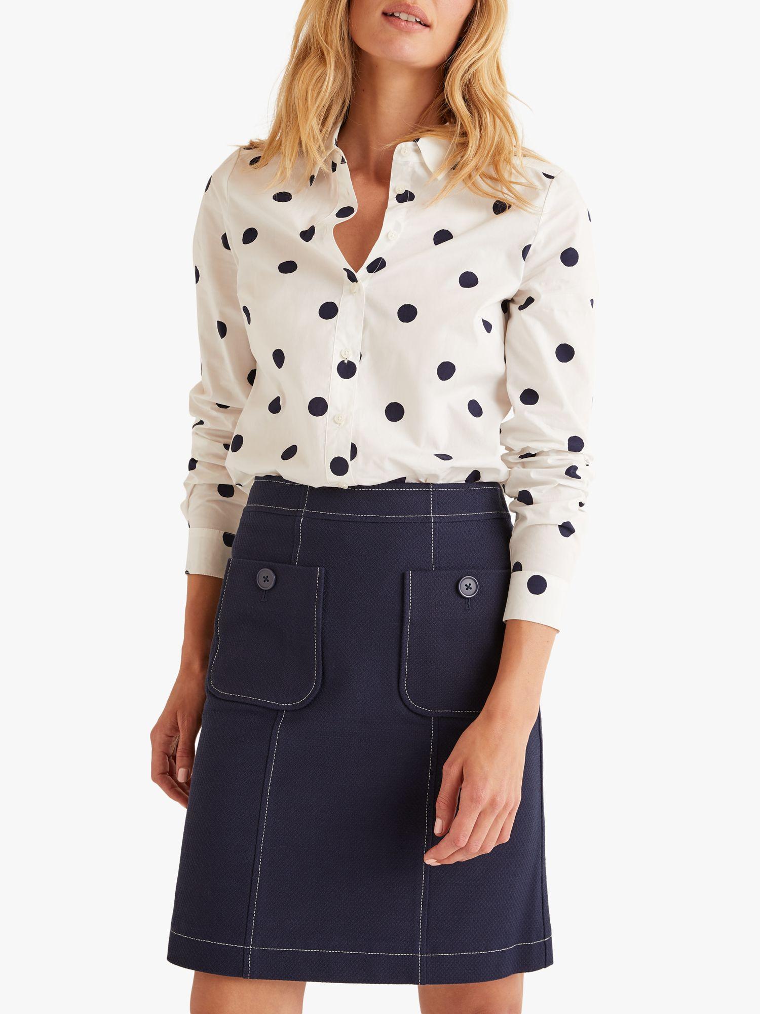 Boden Boden Modern Polka Dot Shirt, Ivory/Navy