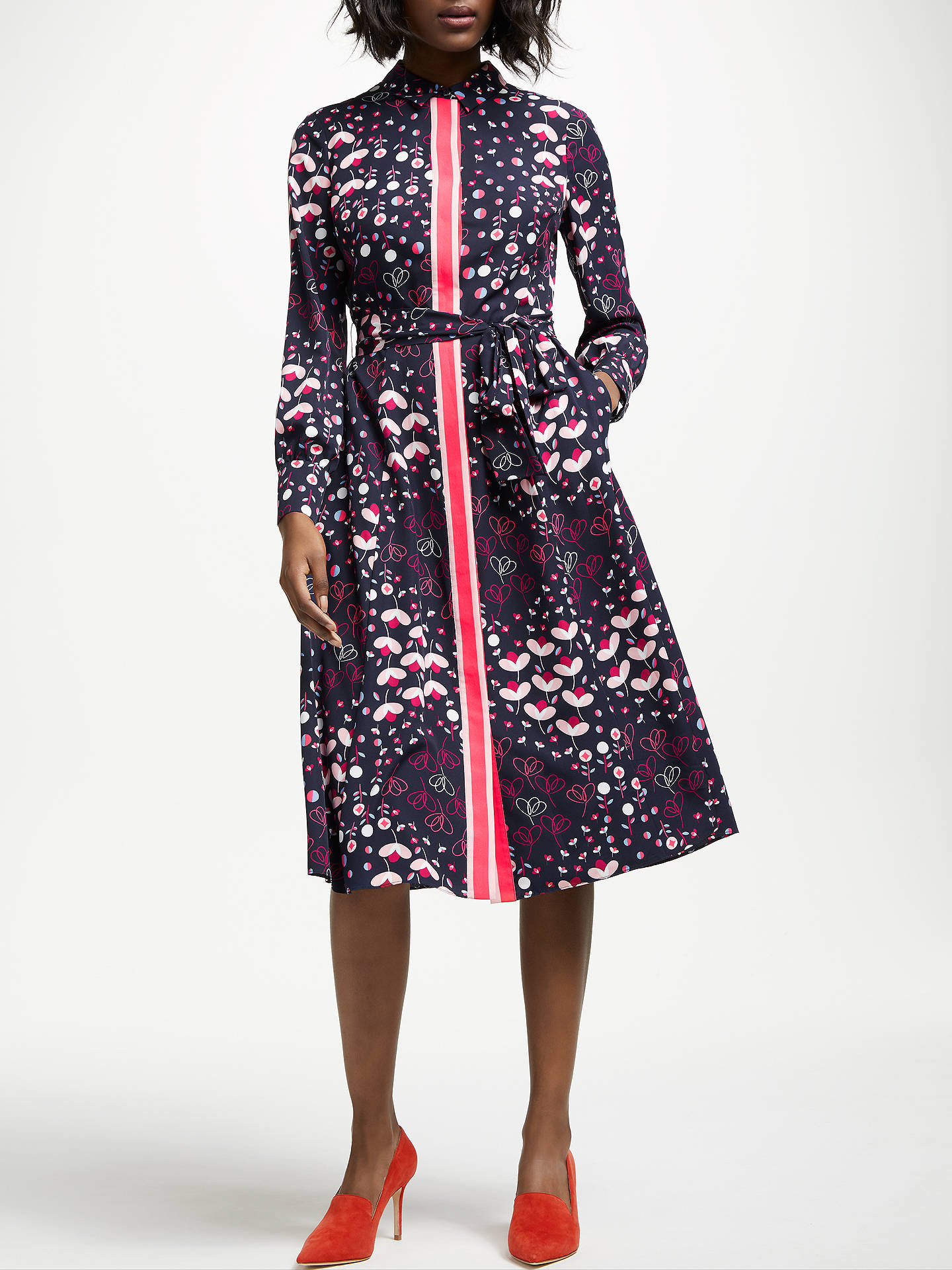 Buy Boden Pippa Shirt Dress, Navy Meadow, 10 Online at johnlewis.com