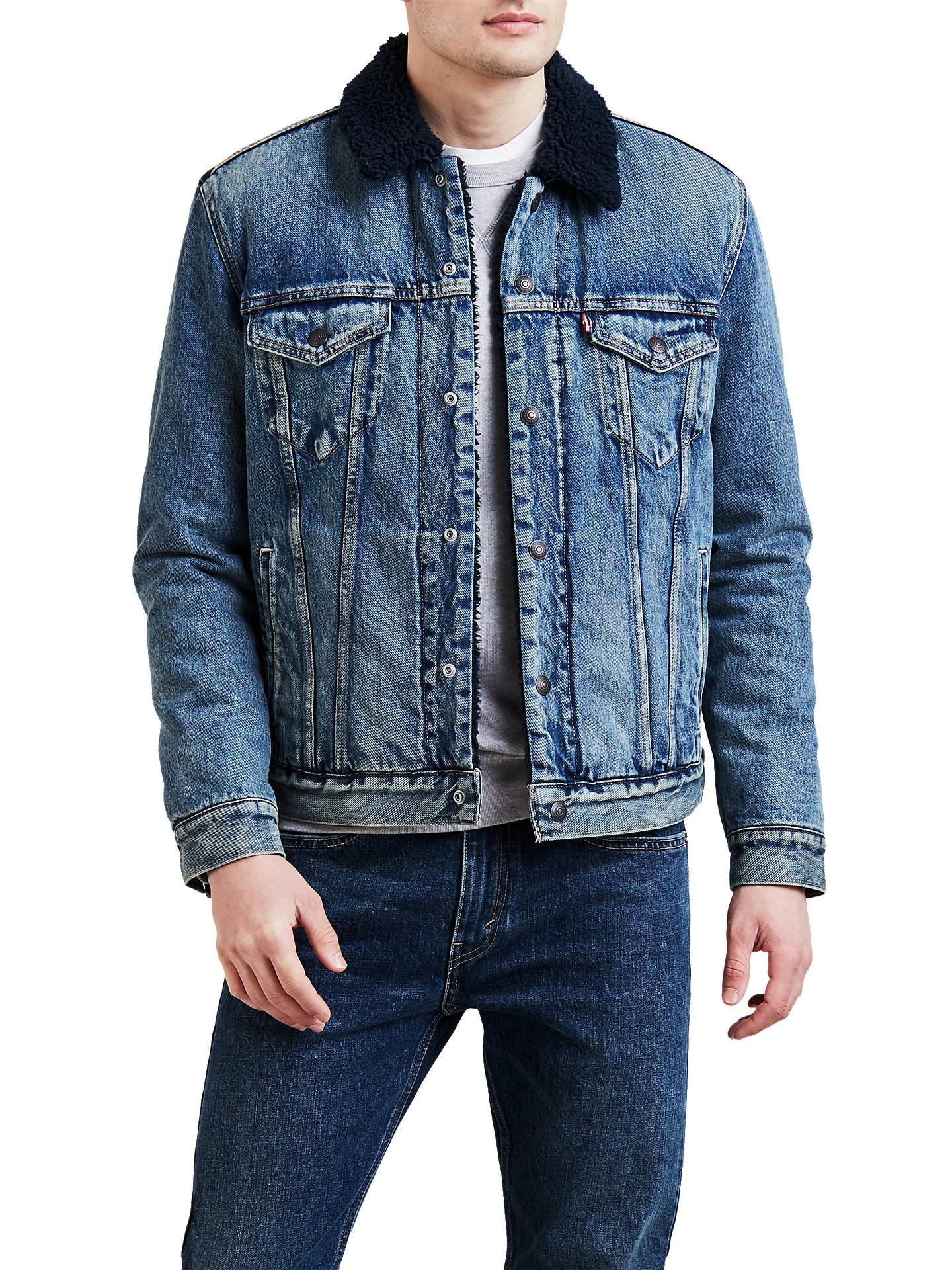 Levi/'s Mens Sherpa Trucker Jacket Indigo Sheep Long Sleeve Button Fastening NEW