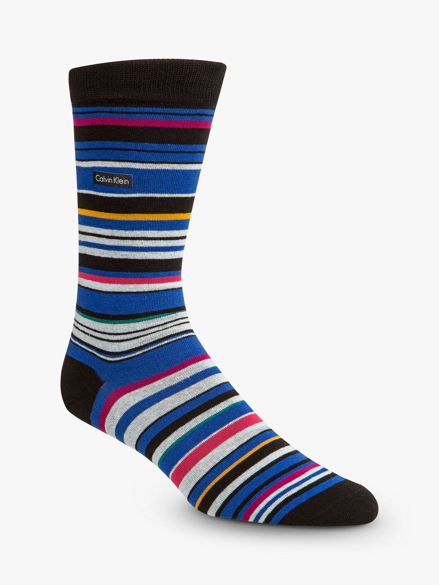 BuyCalvin Klein Stripe Socks, One Size, Blue/Multi Online at johnlewis.com