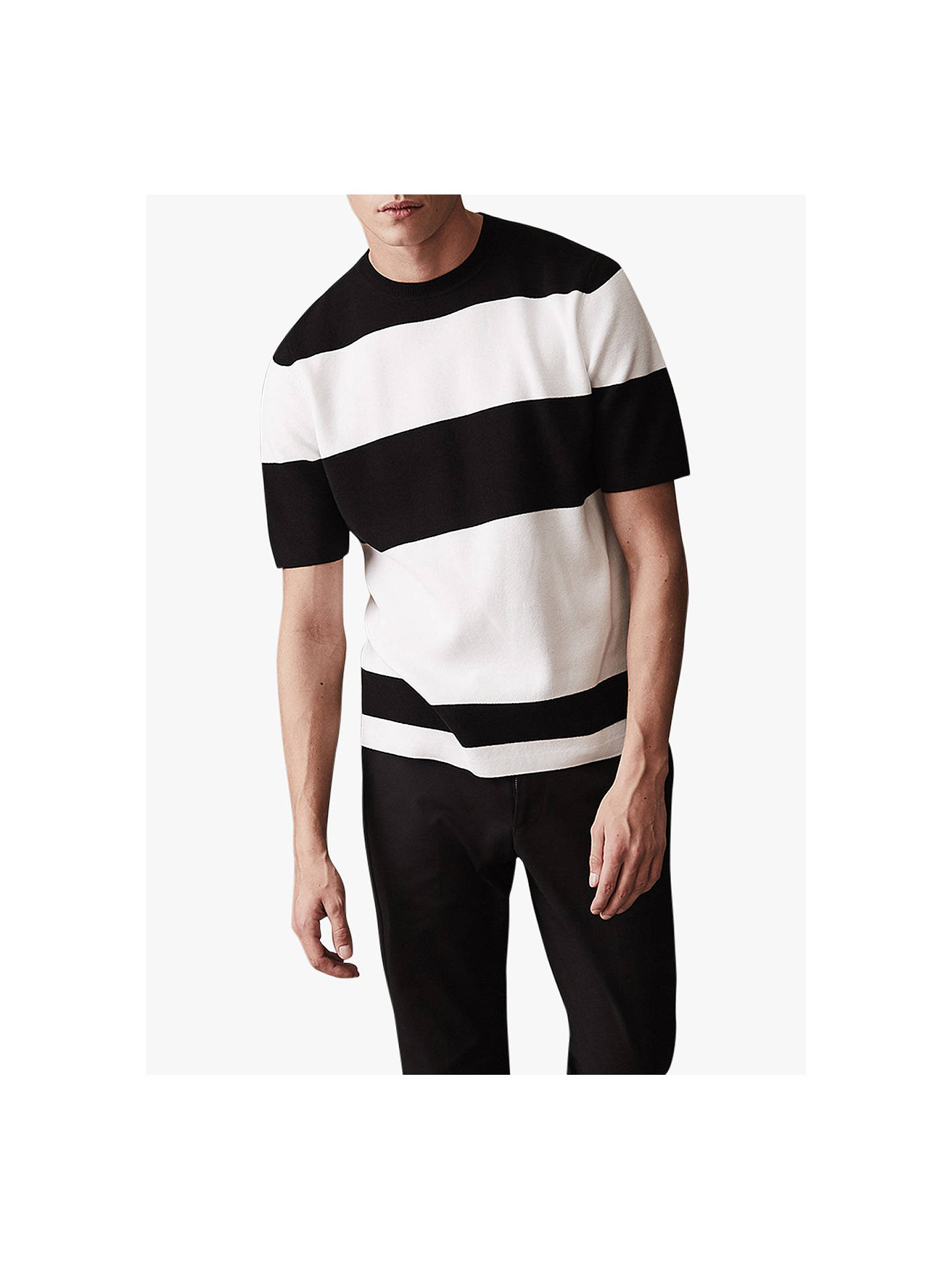 BuyReiss Fielder Stripe Short Sleeve Jumper, Oatmeal, L Online at johnlewis.com
