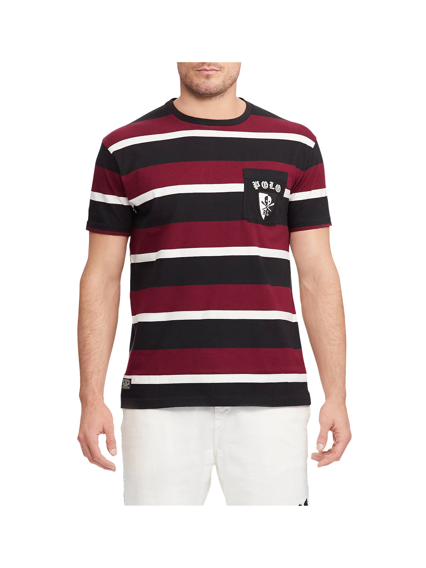 BuyPolo Ralph Lauren Striped Boathouse Tee, Red Black White, XL Online at  ... 07e56088b5