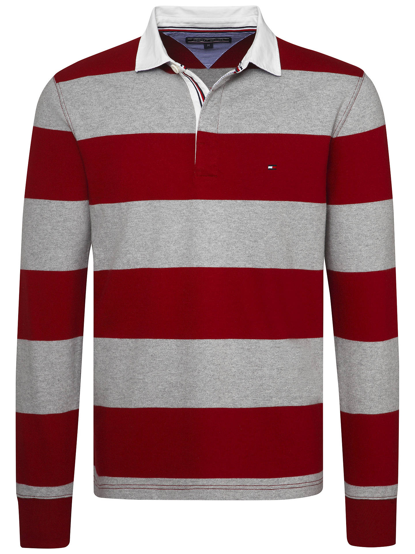 1a7a25eab ... Buy Tommy Hilfiger Iconic Stripe Rugby Shirt, Red/Light Grey, S Online  at ...