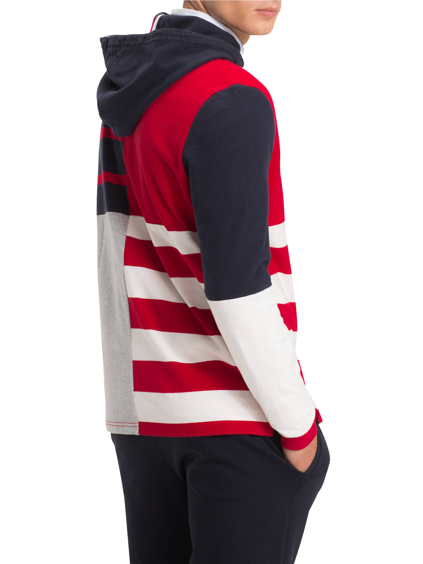 064fa2e6 Buy Tommy Hilfiger Stripe Hooded Rugby Shirt, Red Multi, L Online at  johnlewis.