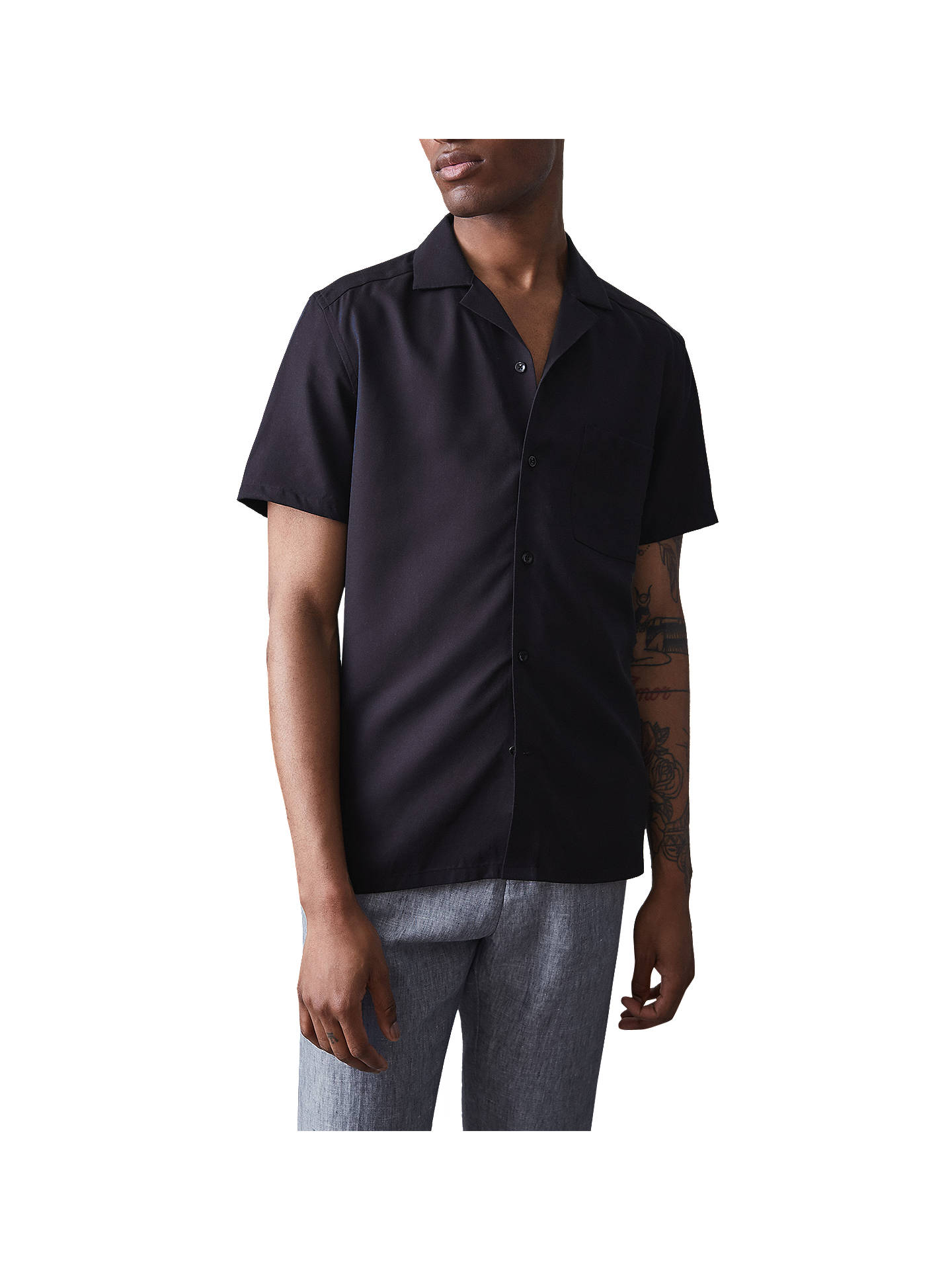 BuyReiss Haydon Cuban Collar Short Sleeve Shirt, Navy, S Online at johnlewis.com
