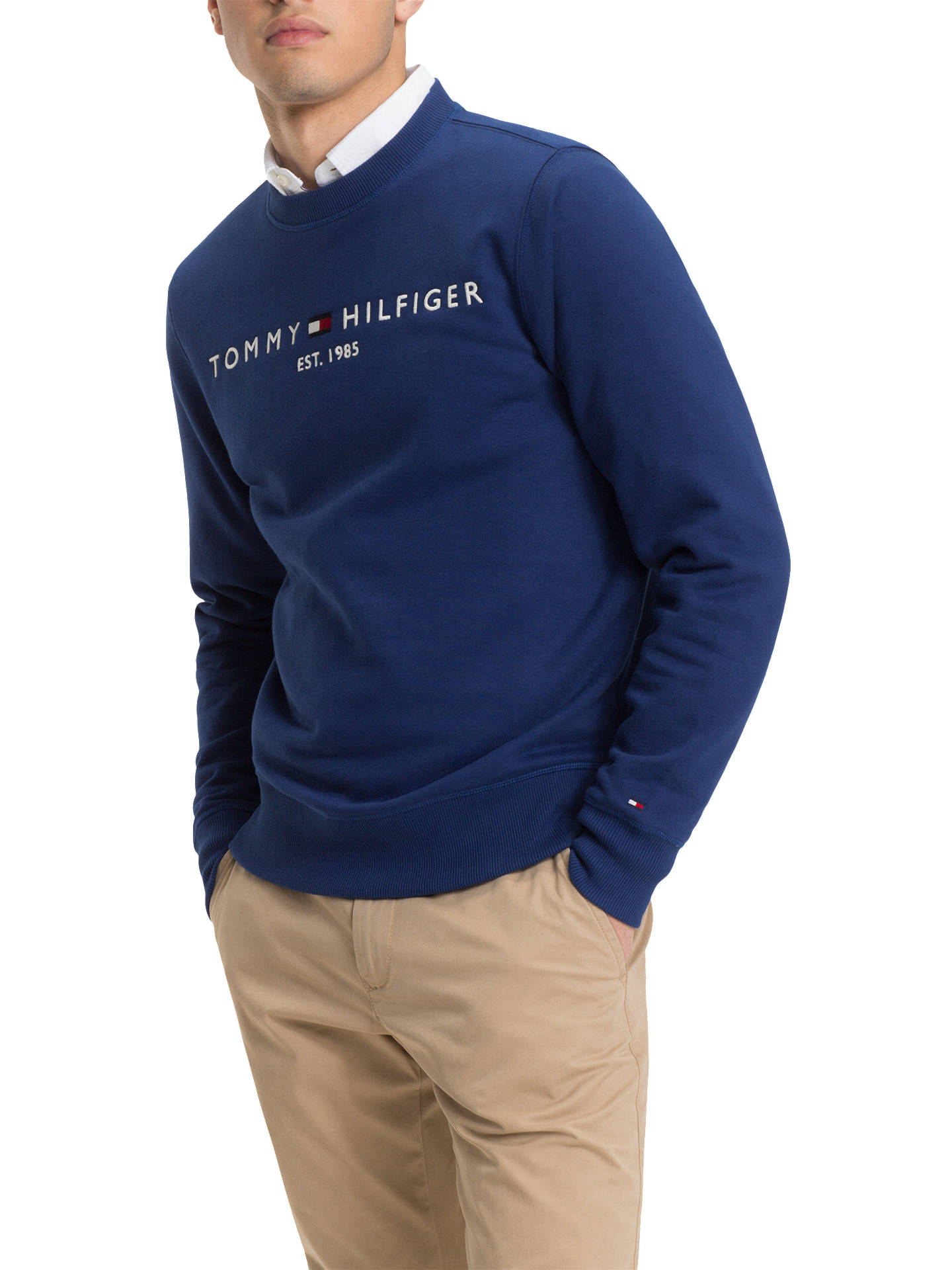 72afab24 Buy Tommy Hilfiger Long Sleeve Logo Sweatshirt, Blue, XL Online at  johnlewis.com ...